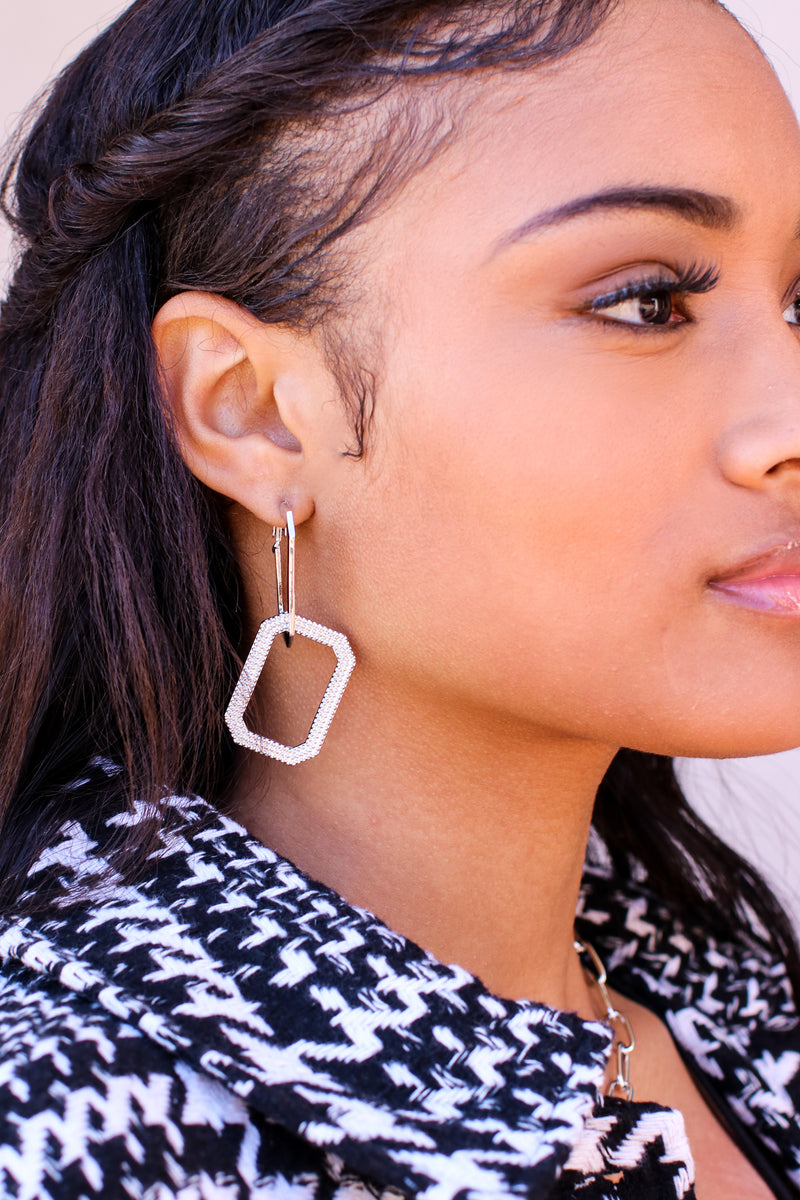 Silver Creative Muse Rectangle Hoop Earrings - Madison and Mallory