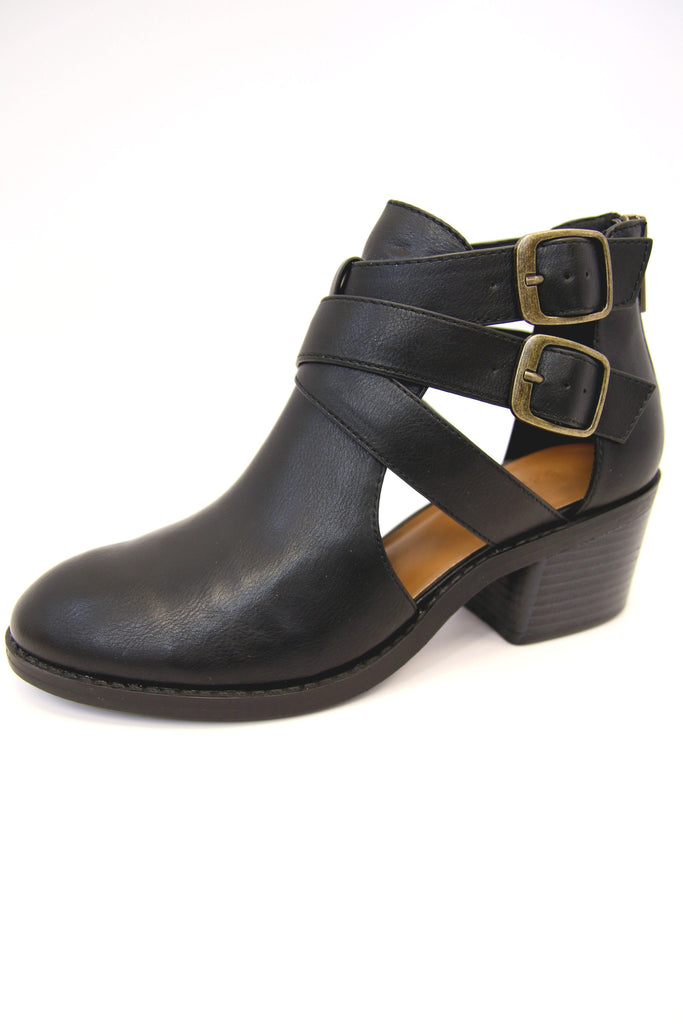 Cut Out Block Heel Booties