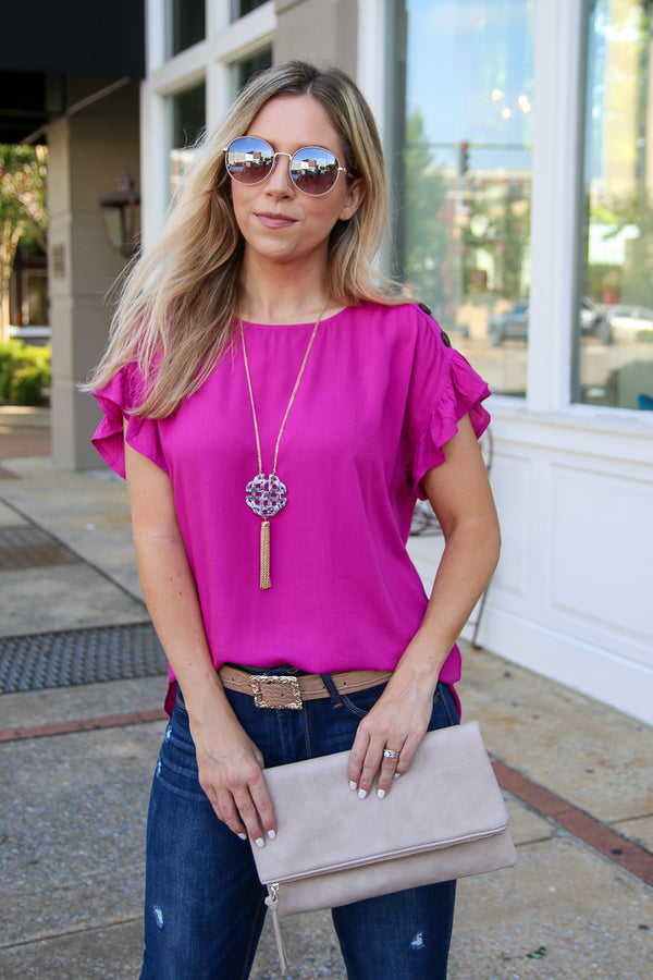 S / Fuchsia Haisley Button Detail Top - Madison + Mallory