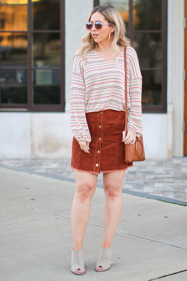 Oliver Button Front Corduroy Skirt - Madison + Mallory
