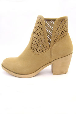 Laser Cut Stacked Heel Booties - Madison + Mallory