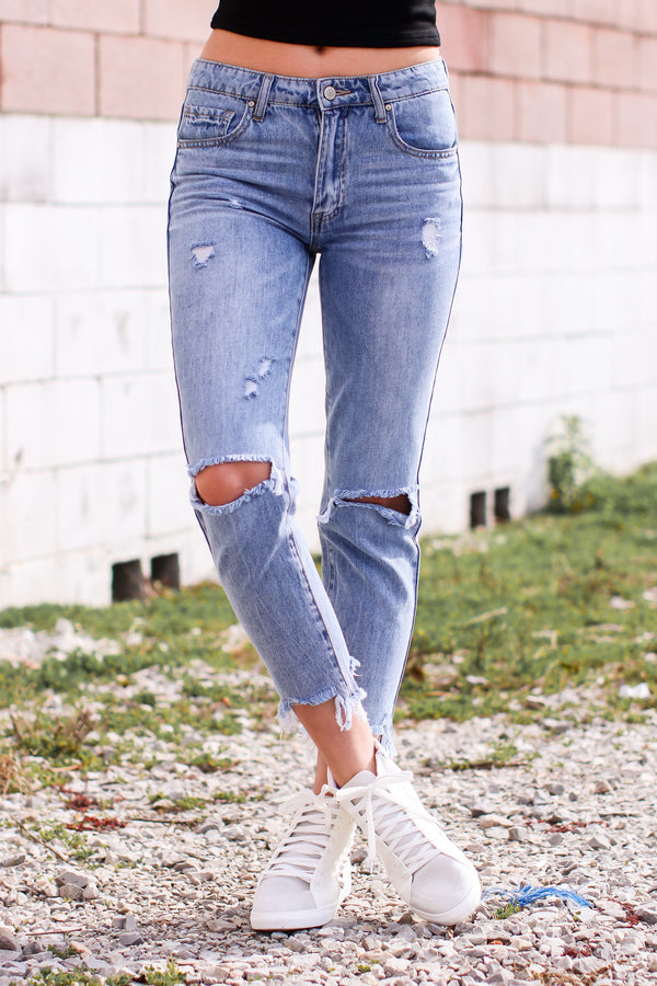1/25 / Light Wash Trent Distressed Boyfriend Jeans - Madison and Mallory