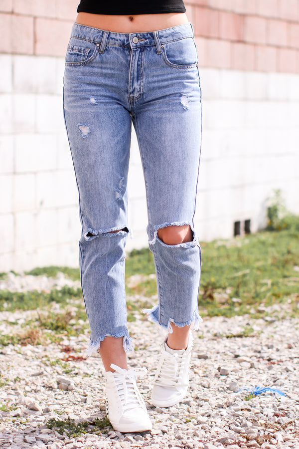 Trent Distressed Boyfriend Jeans - Madison and Mallory