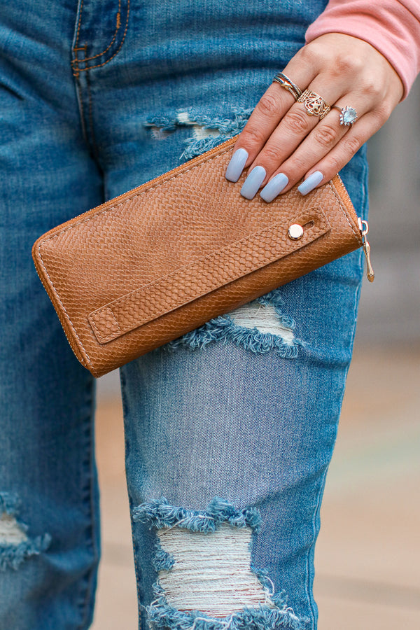 Brown Hughes Faux Leather Zip Wallet + MORE COLORS - Madison + Mallory