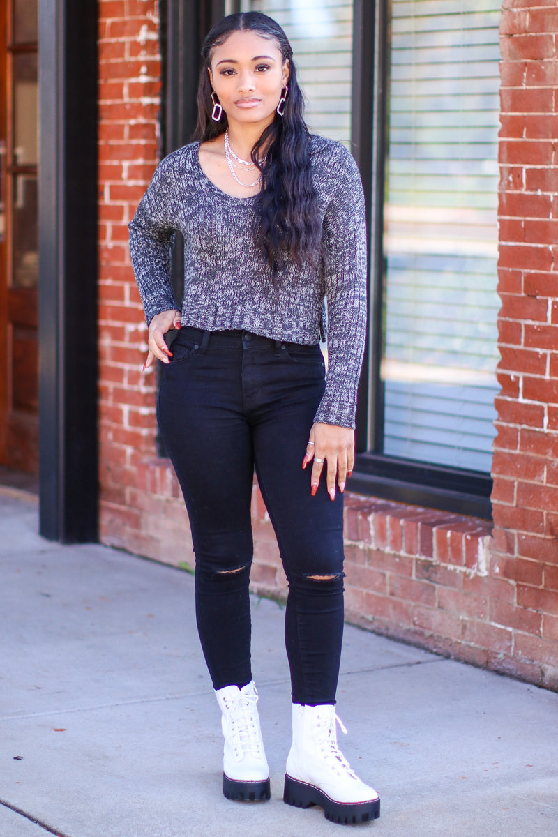 Never Better V-Neck Cropped Sweater - Madison and Mallory