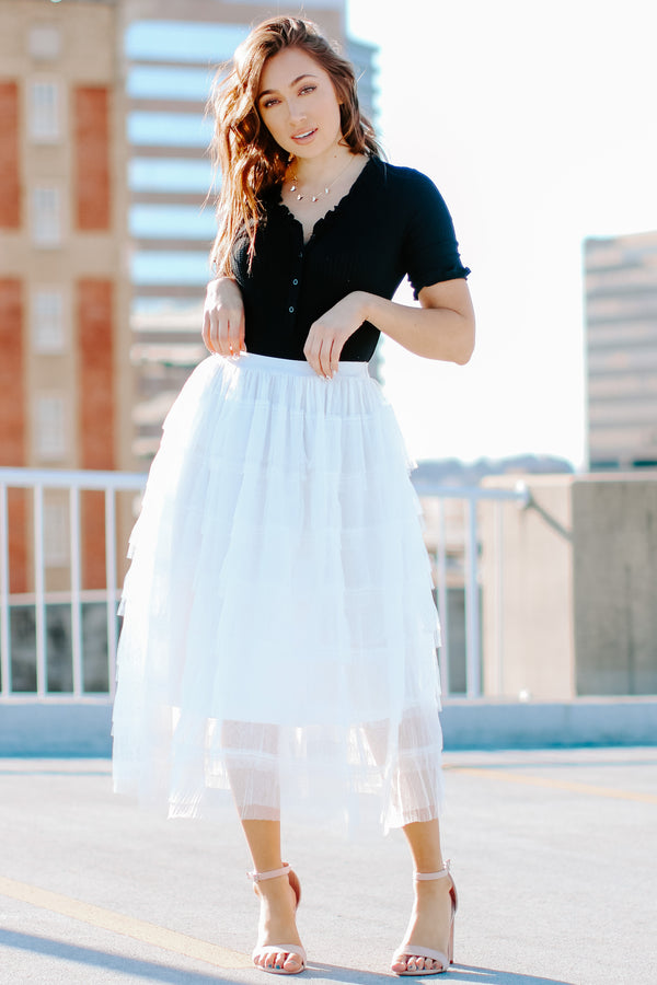 S / Off White Titania Tiered Tulle Skirt - Madison + Mallory