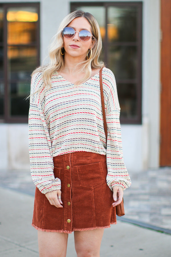S / Bronze Oliver Button Front Corduroy Skirt - Madison + Mallory
