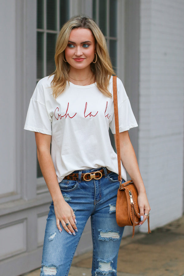S / Ivory Oh La La Graphic Top - FINAL SALE - Madison + Mallory
