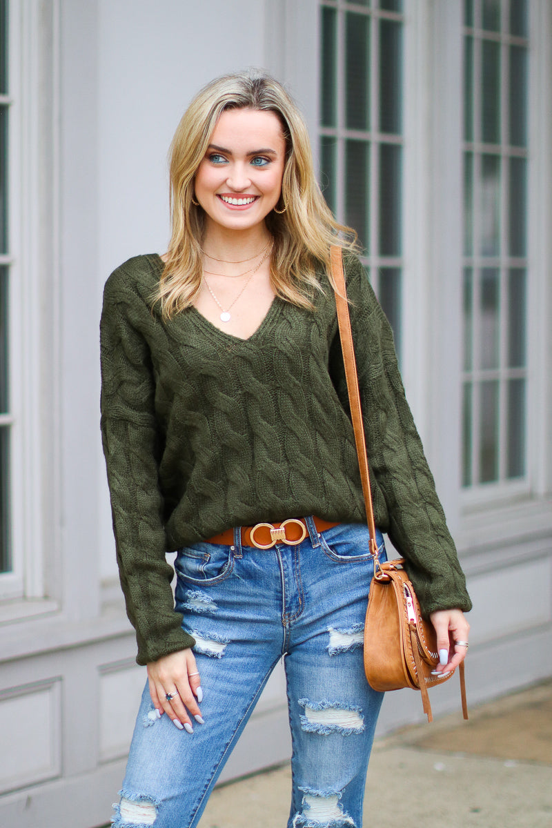 Olive / S Changing Fortunes Cable Knit Sweater - Madison + Mallory