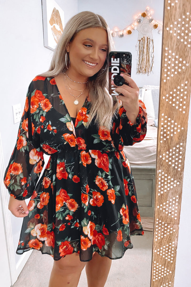 S / Black Quick Hello Floral V-Neck Dress - Madison and Mallory