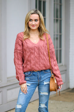 Indie Pink / S Changing Fortunes Cable Knit Sweater - Madison + Mallory