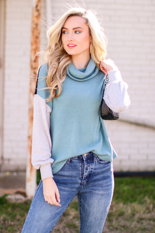 S / Teal Binx Color Block Turtleneck Sweater - Madison and Mallory