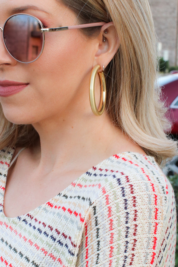OS / Gold Anything Goes Matte Hoops - Madison + Mallory