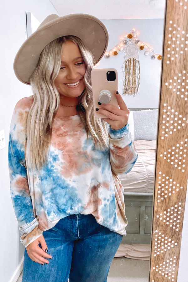 S / Blue Zoom In Tie Dye Long Sleeve Top - Madison and Mallory
