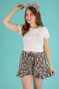 S / Brown Hiss and Makeup Tie Waist Shorts - Madison and Mallory