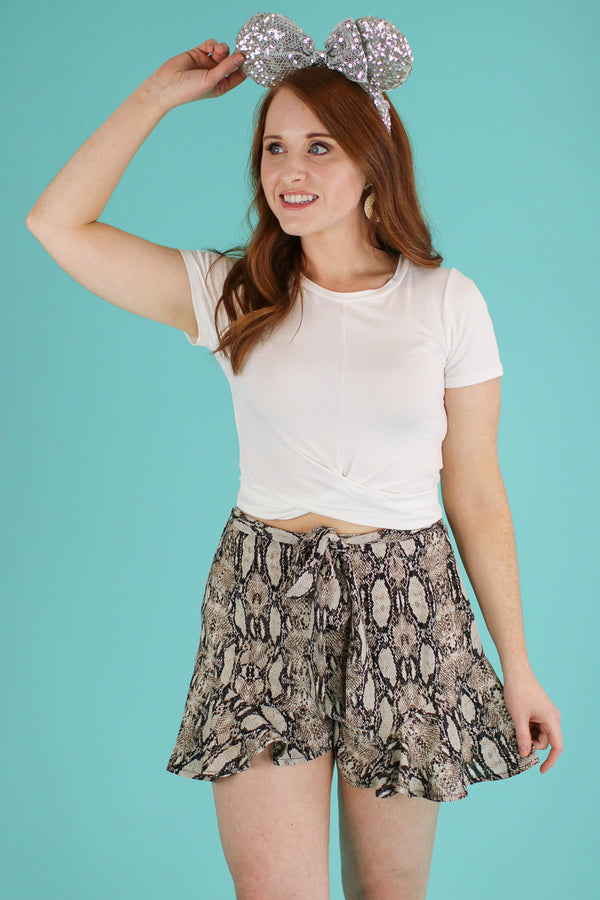S / Brown Hiss and Makeup Tie Waist Shorts - FINAL SALE - Madison and Mallory