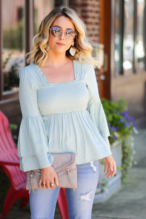 S / Sage Pasadena Smocked Tiered Top - FINAL SALE - Madison + Mallory