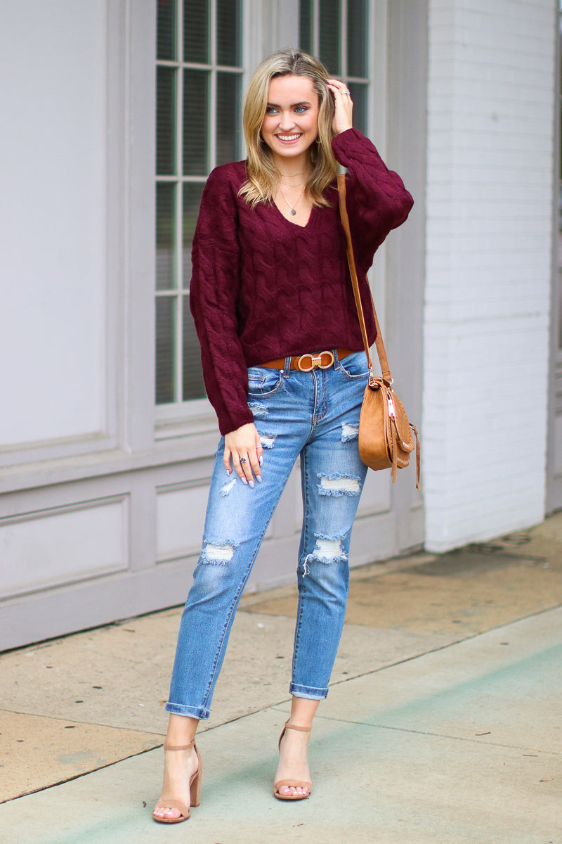 Burgundy / S Changing Fortunes Cable Knit Sweater - Madison + Mallory