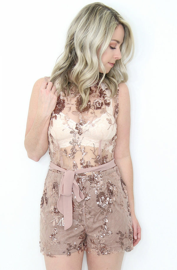 M / Rose Gold Sequin Floral Sequined Romper - Madison + Mallory