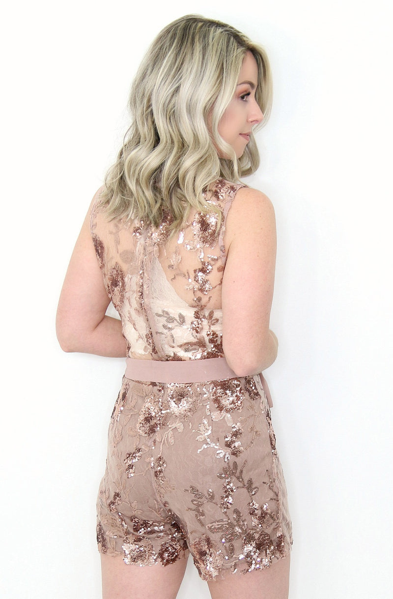 0d13232c4416 S   Rose Gold Sequin Floral Sequined Romper - Madison + Mallory