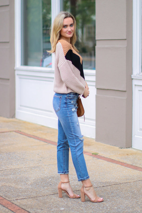 Castle on a Cloud Color Block Sweater - Madison + Mallory