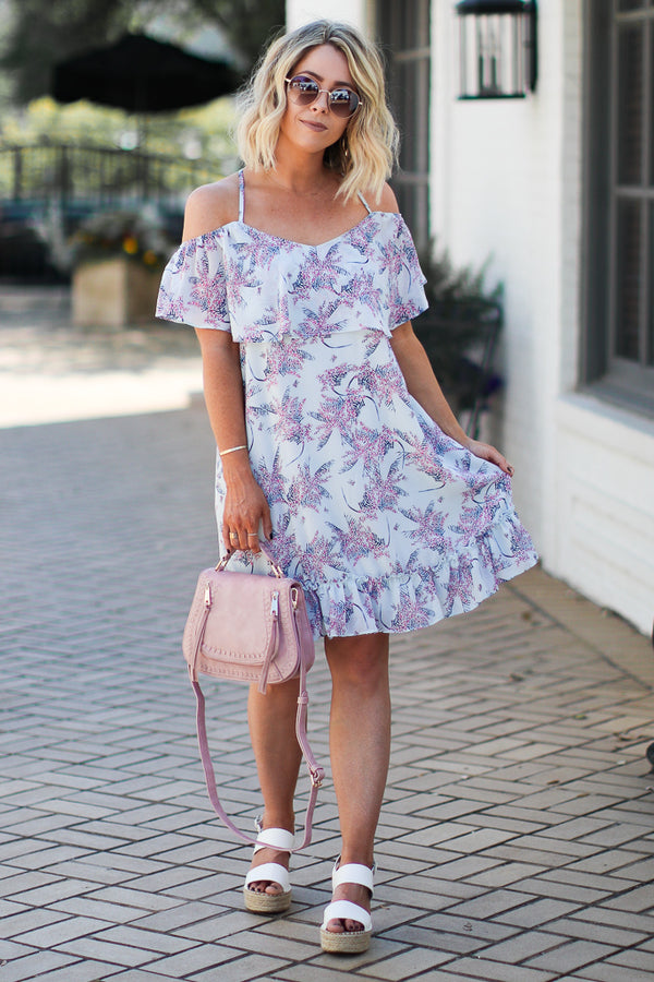 S / Blue Rolling in the Deep Floral Cold Shoulder Dress - Madison + Mallory