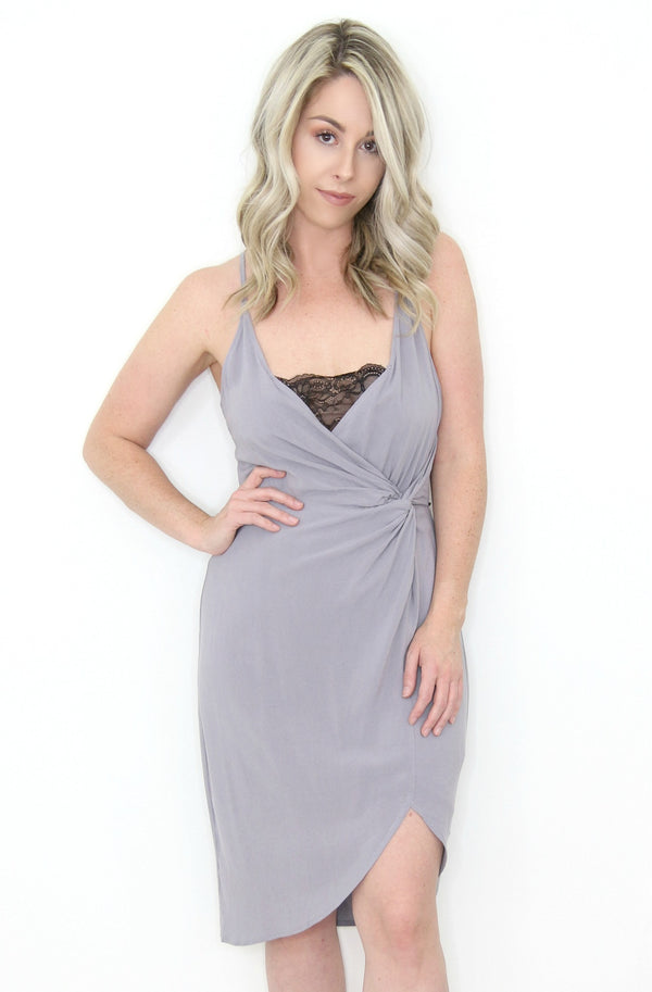 S / Dusty Lavender Front Twist Lace Detail Dress - Madison + Mallory
