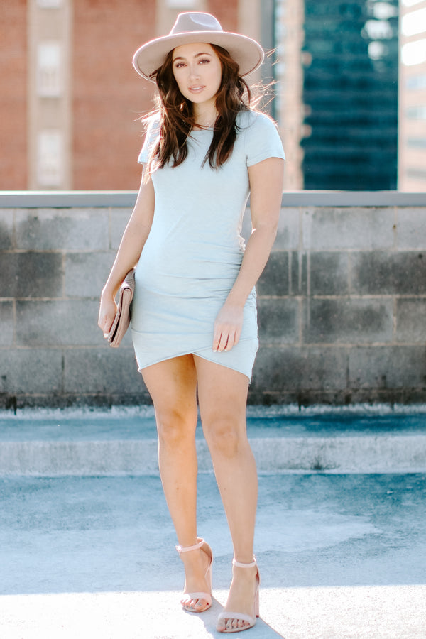 No Substitute Ruched Dress - Steel Blue - Madison + Mallory