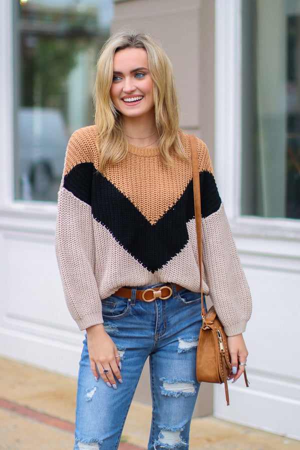 S / Camel Castle on a Cloud Color Block Sweater - Madison + Mallory