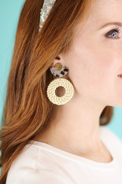 Ivory Going Coastal Rattan Earrings - Madison and Mallory