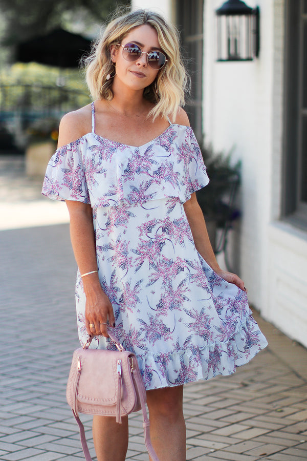 Rolling in the Deep Floral Cold Shoulder Dress - Madison + Mallory