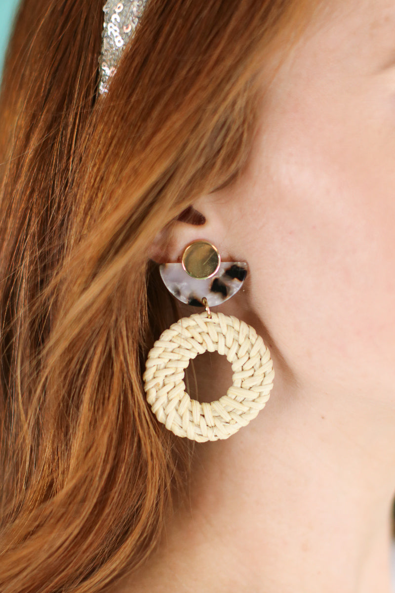 Going Coastal Rattan Earrings - Madison and Mallory