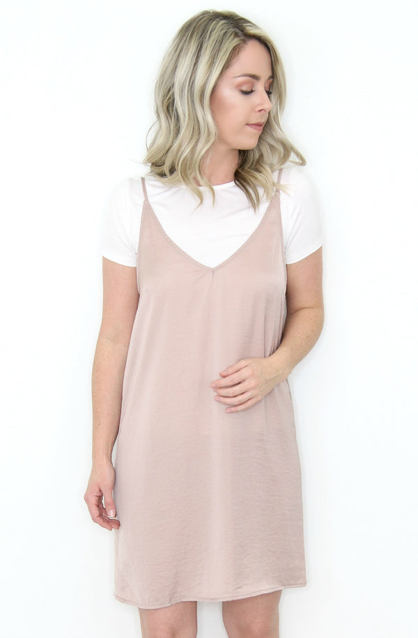 S / Blush V-Neck Slip Dress + MORE COLORS - Madison + Mallory