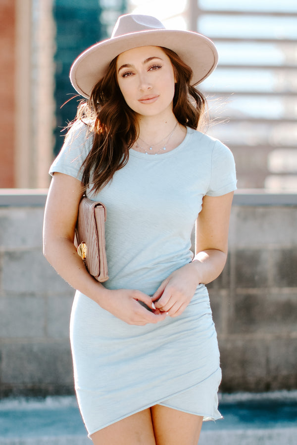 Steel Blue / S No Substitute Ruched Dress - Steel Blue - Madison + Mallory
