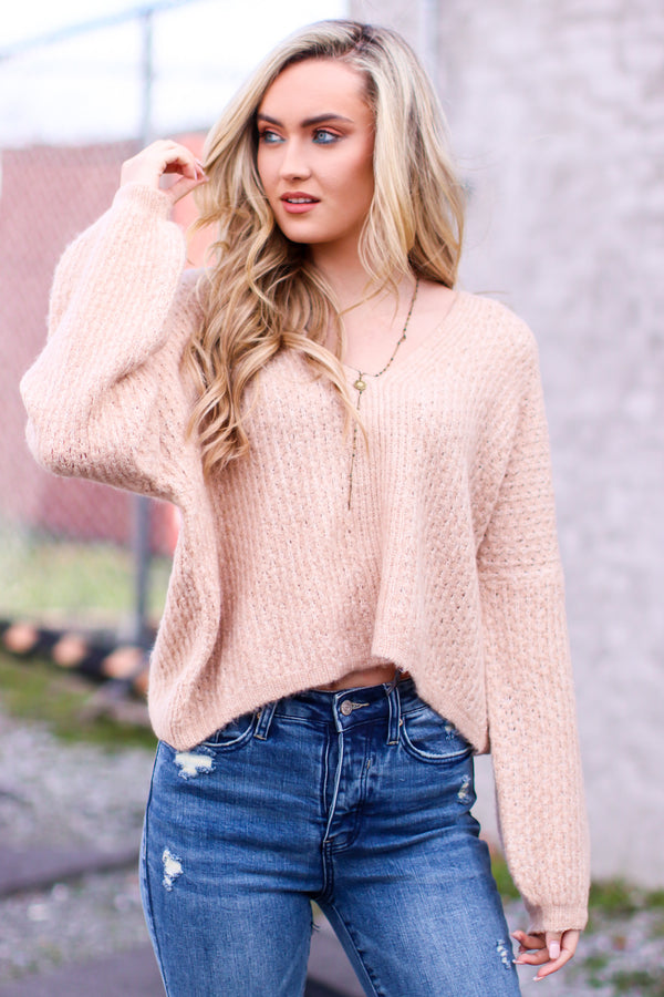 S / Taupe Gionna V-Neck Balloon Sleeve Sweater - Madison and Mallory