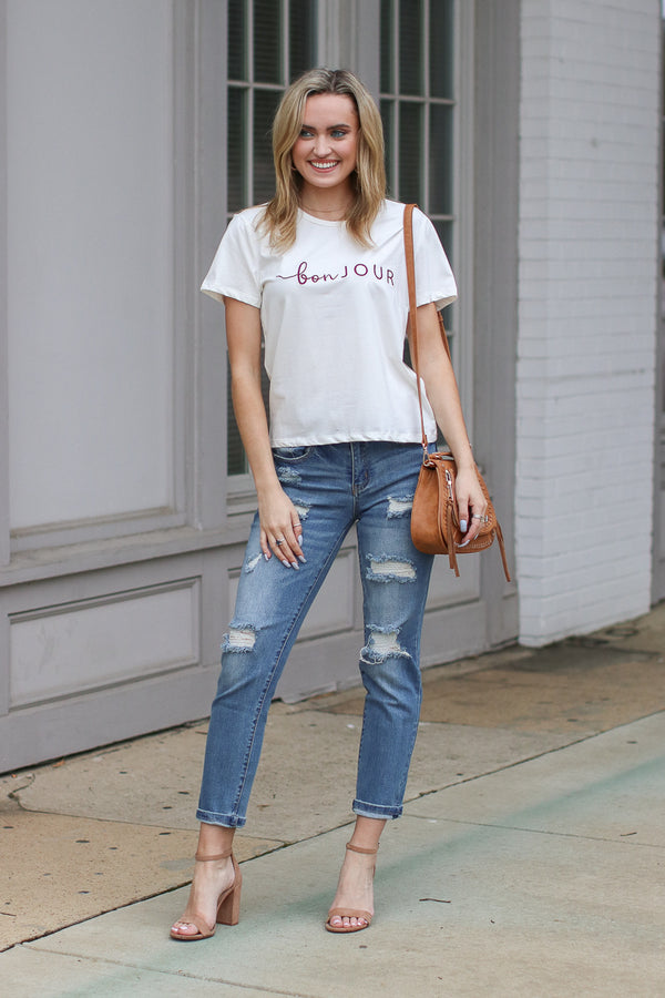 Bonjour Embroidered Graphic Top - FINAL SALE - Madison + Mallory
