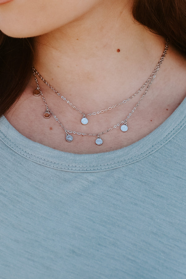 Silver Kadir Coin Charm Layered Necklace - Madison + Mallory