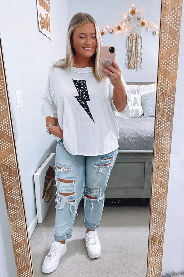 Strikes Graphic Lightning Bolt Top