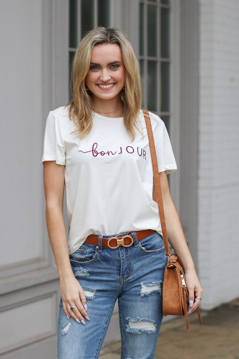 S / White Bonjour Embroidered Graphic Top - Madison + Mallory