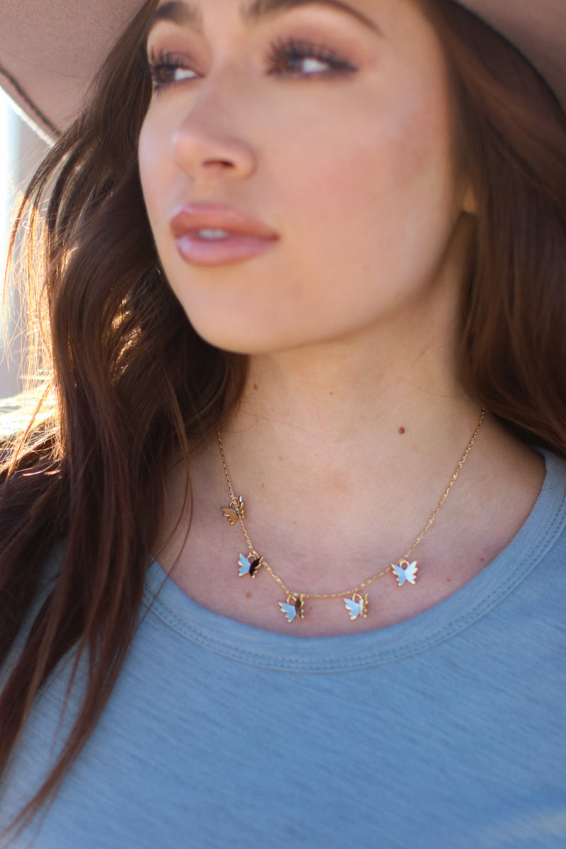 Flutter Along Butterfly Charm Necklace - Madison and Mallory