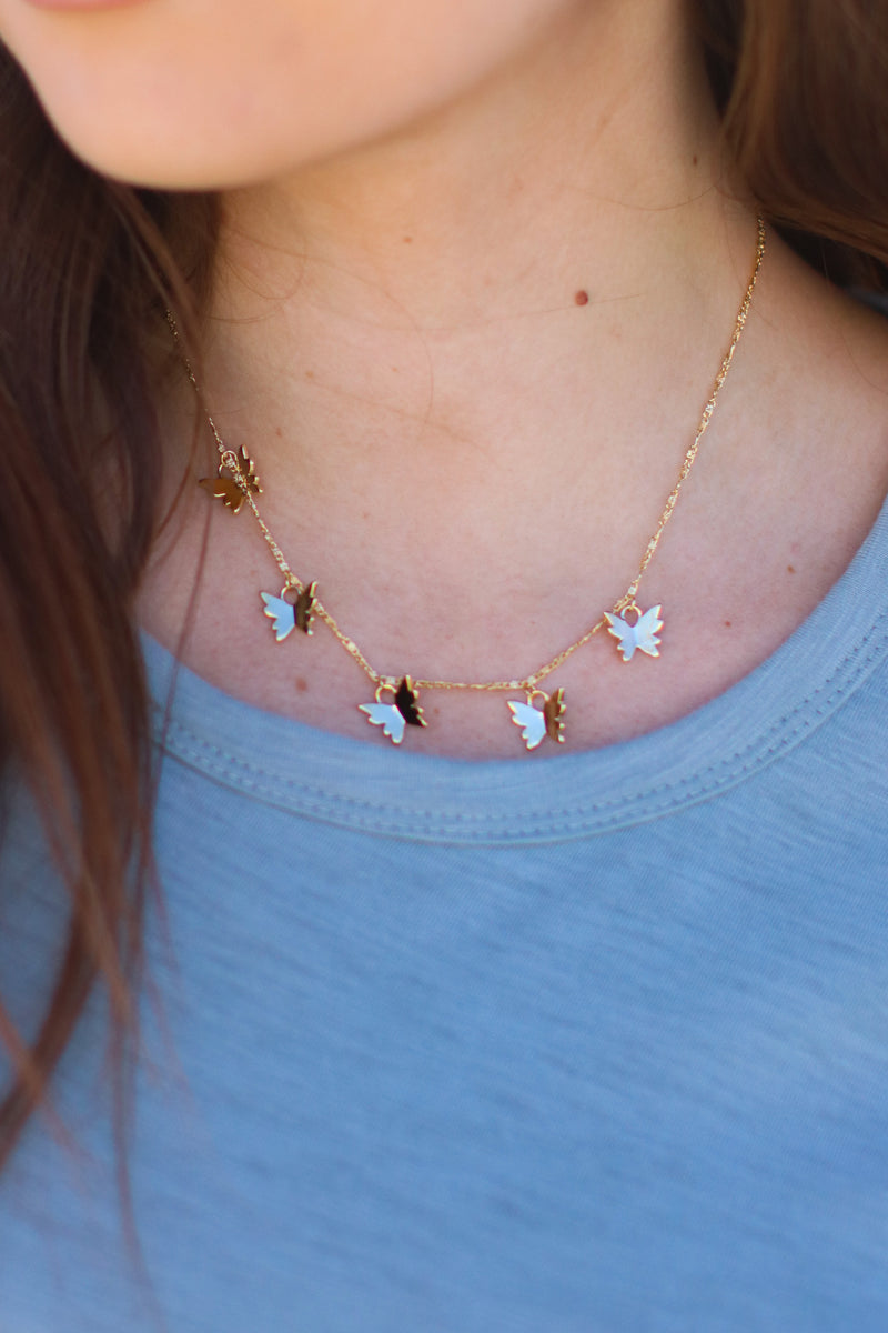 Gold Flutter Along Butterfly Charm Necklace - Madison and Mallory