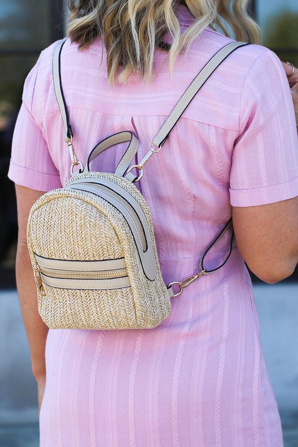 Pacific Grove Mini Straw Backpack - Beige - Madison + Mallory