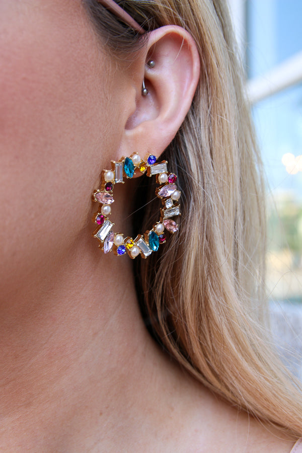 Multi Hidden Gem Rhinestone and Pearl Earrings + MORE COLORS - Madison + Mallory