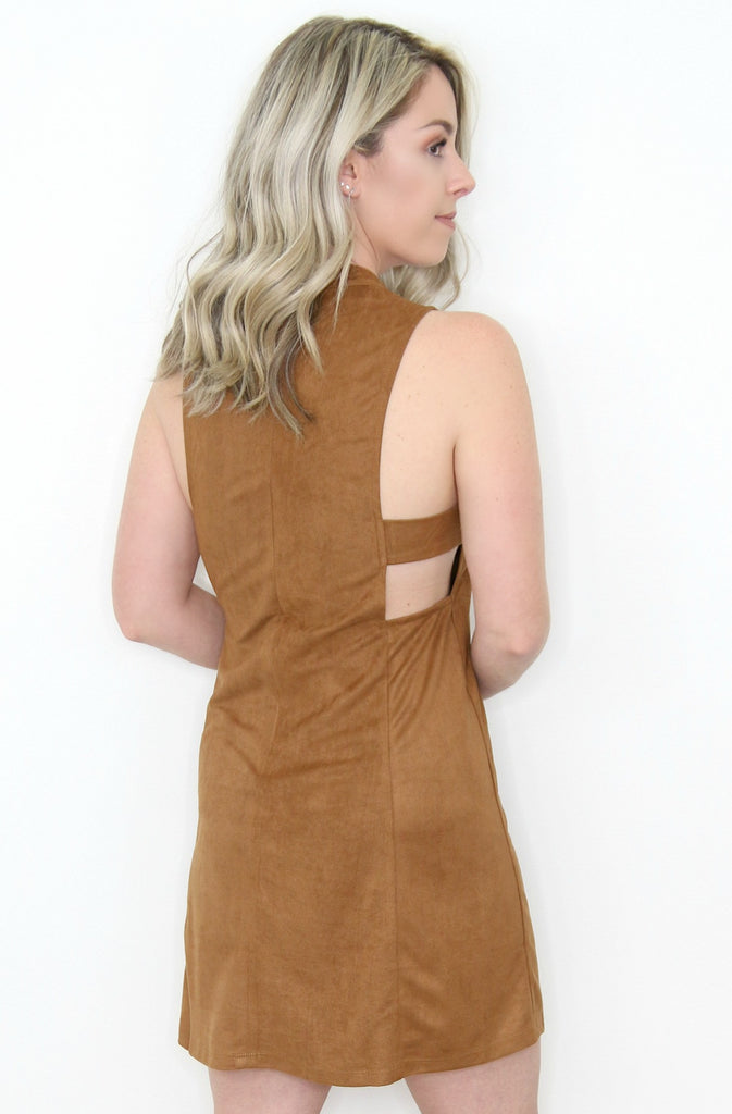 Faux Suede Side Cutout Dress