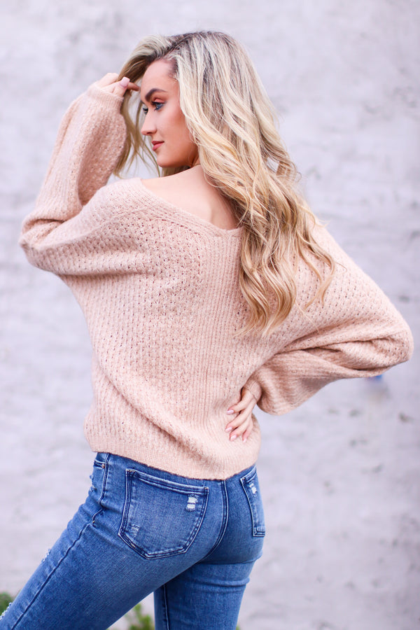 Gionna V-Neck Balloon Sleeve Sweater - Madison and Mallory