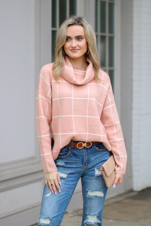 S / Pink Chic Analysis Plaid Cowl Neck Top - Madison + Mallory