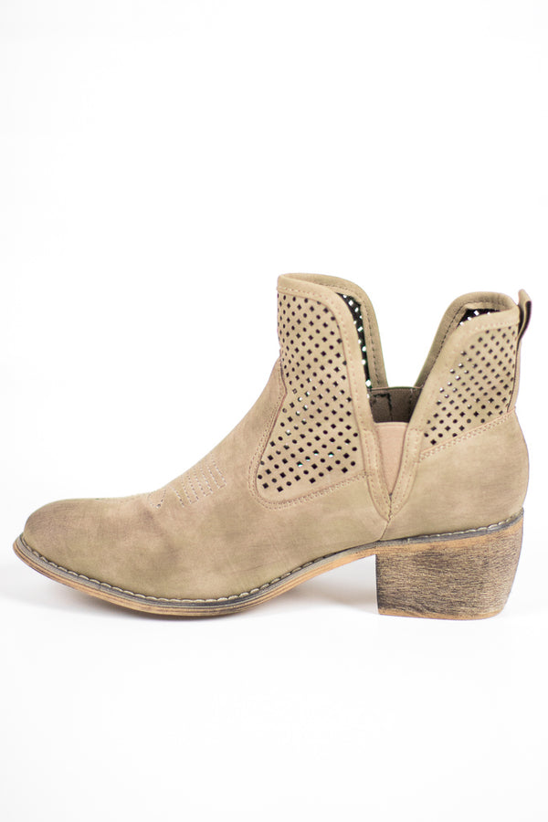 6 / Taupe Candice Cut Out Booties - FINAL SALE - Madison + Mallory