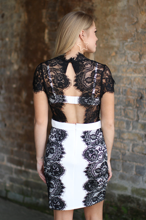 Lace Insert Cutout Panel Dress - Madison + Mallory