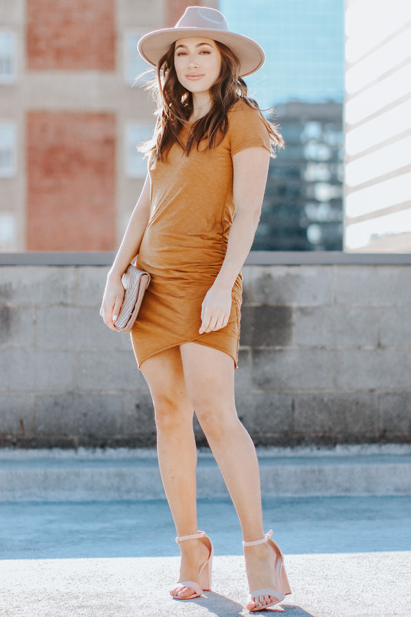 No Substitute Ruched Dress - Camel - Madison + Mallory