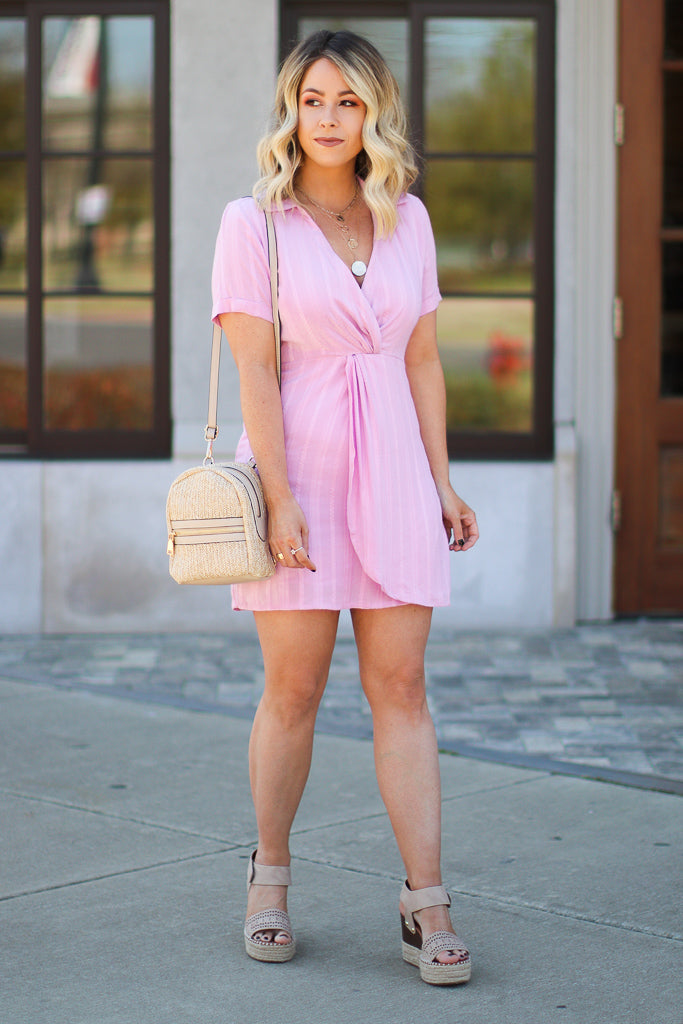 M / Lilac From the Start Twist Front Shirt Dress - FINAL SALE - Madison + Mallory